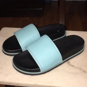 New Calvin Klein Slide Sandals teal/ Black Sz 10